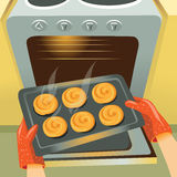Baking buns in the oven. Vector image of the oven and the tray on which lie the hot buns Royalty Free Stock Images