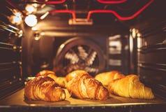 Baking Buttery Croissants Stock Photo