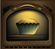 Baking a cake. In traditional oven - vector illustration stock illustration