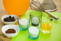 Baking a cake. Baking ingredients for cake (egg, fluor Royalty Free Stock Images