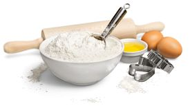 Baking. Cake Flour Ingredient Eggs Domestic Kitchen Work Tool Royalty Free Stock Images