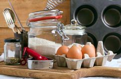 Baking cake ingredients. And cooking tools Stock Photo