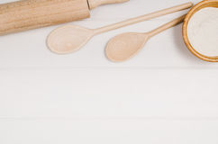Baking cake or pizza ingredients top view on wooden background Stock Photo