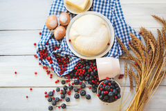 Baking cake in rural kitchen - cake recipe with berries. Royalty Free Stock Image