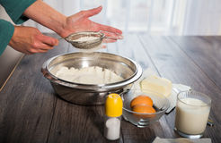 Baking cake in rural kitchen Royalty Free Stock Photography