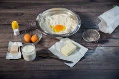 Baking cake in rural kitchen Royalty Free Stock Images