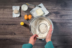 Baking cake in rural kitchen Stock Photography