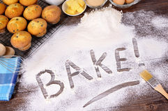 Baking cakes with ingredients Royalty Free Stock Images