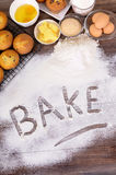 Baking cakes with ingredients Stock Images