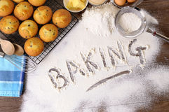 Baking cakes with ingredients Royalty Free Stock Photography