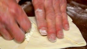 Baking of cheese khachapuri stock video