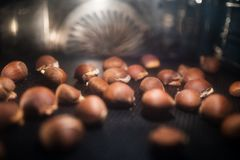 Baking chestnuts in the oven Stock Image