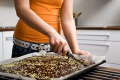 Baking chocolate cake Royalty Free Stock Photography