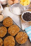 Baking chocolate chip cookies with ingredients Stock Photo