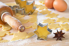 Baking christmas biscuits Stock Photo