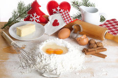 Baking Christmas cookies. With Copy Space Royalty Free Stock Photo