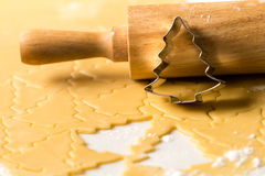 Baking christmas cookies dough rolling pin Royalty Free Stock Photography