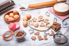 Baking Christmas cookies Royalty Free Stock Photos