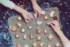 Baking the Christmas cookies. Overhead shot of baked Christmas cookies Stock Image