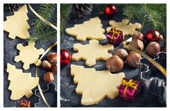 Baking Christmas cookies Stock Photos