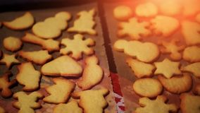 Baking christmas cookies - xmas bakery - festive winter celebration stock footage