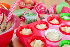 Baking Christmas cupcakes Stock Image