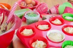Baking Christmas cupcakes Stock Image