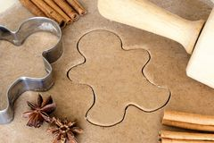 Baking Christmas gingerbread cookies Stock Photography
