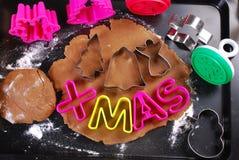 Baking christmas gingerbread cookies Stock Image