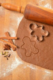 Baking Christmas Gingerbread cookies. Scene depicts rolled dough Royalty Free Stock Photography