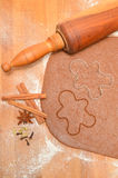 Baking Christmas Gingerbread cookies. Scene depicts rolled dough Stock Image