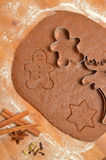 Baking Christmas Gingerbread cookies. Scene depicts rolled dough Royalty Free Stock Image