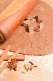 Baking Christmas Gingerbread cookies. Scene depicts rolled dough Royalty Free Stock Images