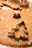 Baking Christmas gingerbread. Royalty Free Stock Images