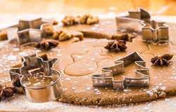 Baking Christmas gingerbread. Royalty Free Stock Photo