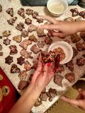 baking Christmas gingerbreads, winter smell of bark oranges royalty free stock photo