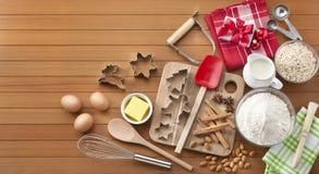 Baking Christmas Wood Background Stock Images