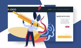 Baking classes web page template baker and dough royalty free illustration