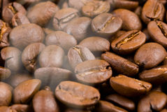 Baking coffee bean with smoke Royalty Free Stock Images