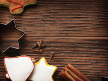 Baking concept background with spices and utensils for Christmas cookies Stock Photos
