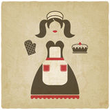 Baking concept illustration. girl with pie old background Royalty Free Stock Images