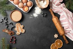 Baking cookies background. Gingerbread cookies flat lay royalty free stock images