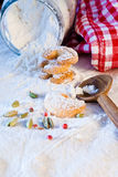 Baking cookies or biscuits for Christmastime Stock Photos