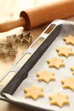 Baking cookies. For Christmas. Cookies on baking sheet royalty free stock photography