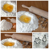 Baking cookies - the collage. A collage of five photos abot baking cookies theme Royalty Free Stock Photo