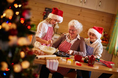 Baking cookies with grandmother on xmas Stock Image