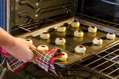 Baking Cookies in Home Kitchen Stock Image