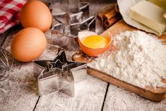 Baking cookies, ingredients for cakes Stock Photos