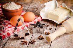 Baking cookies, ingredients for cakes Royalty Free Stock Image
