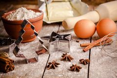 Baking cookies, ingredients for cakes Royalty Free Stock Images